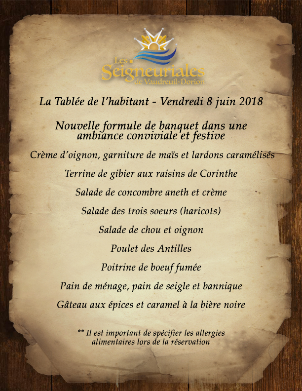 menu tablée de l'habitant 2018